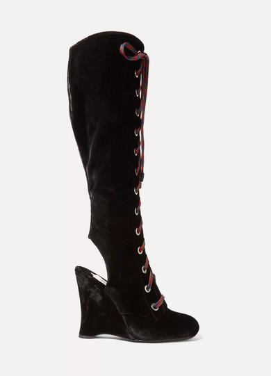 Prada - Lace-up Velvet Wedge Knee Boots - Black