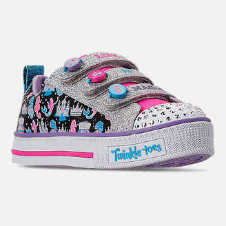 Skechers Girls' Little Kids'Skechers Twinkle Toes: Twinkle Lite - Miss Magical Light-Up Hook-and-Loop Casual Shoes