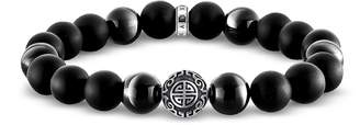 Thomas Sabo Ethno Black Sterling Silver Men's Bracelet w/Obsidian Matt & Polished Beads