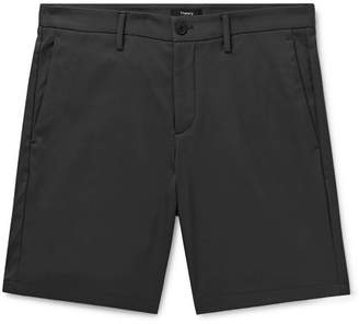 Theory Zaine Garment-washed Stretch-cotton Twill Shorts - Gray