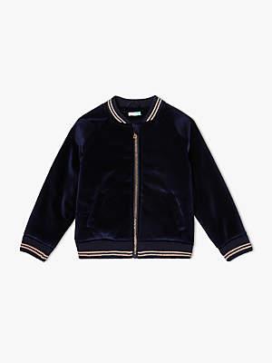 John Lewis & Partners Girls' Velvet Bomber Jacket, Navy