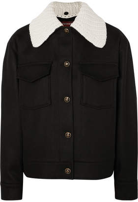 ALEXACHUNG Wool And Cashmere-blend Felt Jacket - Black