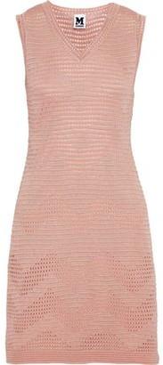 M Missoni Metallic Ribbed And Pointelle-Knit Mini Dress