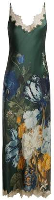 Carine Gilson Lace Trimmed Floral Print Maxi Dress - Womens - Blue Print