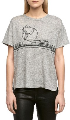 Women's Rag & Bone/jean Palm Embroidered Linen Tee $125 thestylecure.com