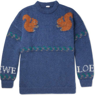 Loewe Oversized Jacquard-Knit Mohair-Blend Sweater