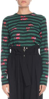 Proenza Schouler Crewneck Long-Sleeve Striped Poppy-Print Cotton T-Shirt