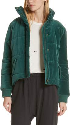 The Great The Quilted Velvet Puffer Coat