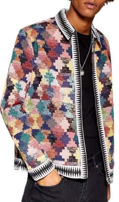 Topman Tapestry Zip Shirt Jacket