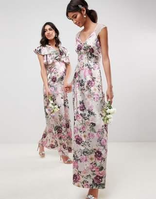 Asos Design DESIGN lace insert maxi dress in pretty floral print