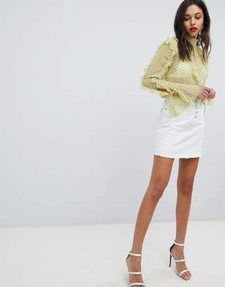 Lipsy Denim Skirt With Gold Detail