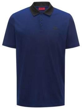HUGO Boss Polo shirt in Oxford cotton pique contrast collar M Dark Blue
