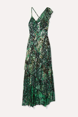Alice + Olivia Alice Olivia - Shanel Ruffled Printed Fil Coupé Chiffon Maxi Dress - Green