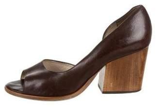 Robert Clergerie Leather Peep-Toe Semi-D'Orsay Pumps