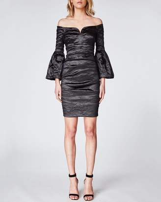 Nicole Miller Techno Metal Flare Sleeve Dress