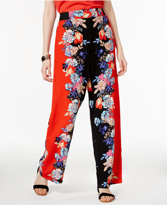 INC International Concepts Floral-Print Wide-Leg Pants, Only at Macy's $69.50 thestylecure.com