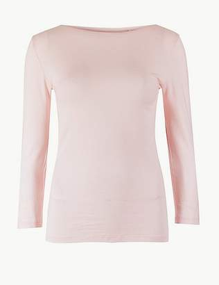 Marks and Spencer Cotton Rich Slash Neck 3/4 Sleeve T-Shirt