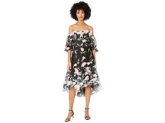 Marchesa Off the Shoulder 3D Floral Embroidered Cocktail with Blouson Sleeve and Trims