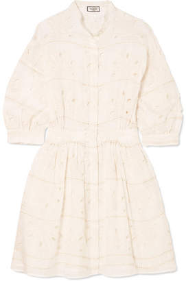 Paul & Joe Broderie Anglaise Cotton And Silk-blend Mini Dress - White