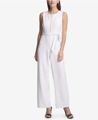 DKNY Belted Zip-Front Jumpsuit