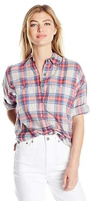 Max Studio MAXSTUDIO Women's Cotton Shortsleeve Plaid Shirting with Buttons