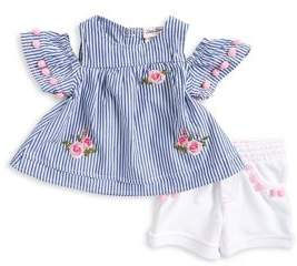 Little Lass Baby Girl's Two-Piece Stripe Cold-Shoulder Top and Shorts Set