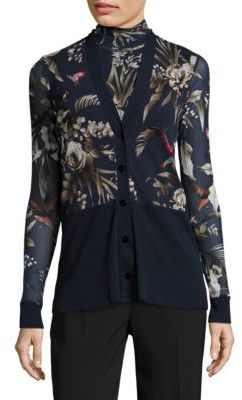 Fuzzi Floral Print Cardigan $345 thestylecure.com