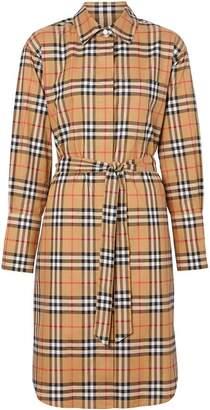 Burberry Vintage Check Cotton Tie-waist Shirt Dress
