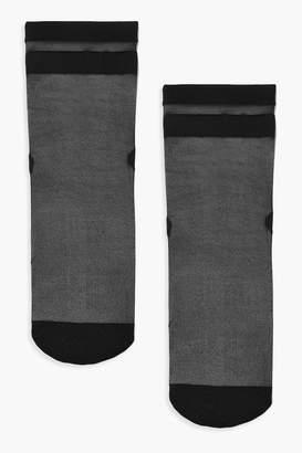 boohoo Mesh Sports Stripe Socks