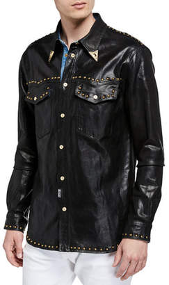 Versace Men's Stud-Trim Coated Denim Western Shirt