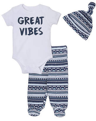 Chick Pea Three-Piece Cotton Short-Sleeve Bodysuit, Printed Pants and Hat Set