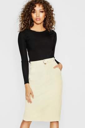 boohoo Tie Waist Cord Pencil Skirt