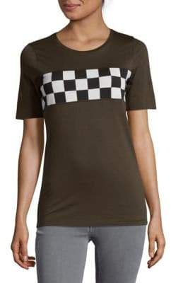 DSQUARED2 Checkered Stripe Graphic Tee