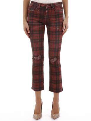 R 13 Red Check Denim