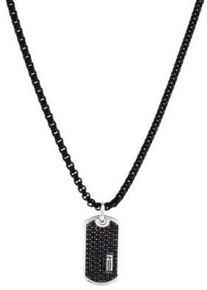 David Yurman Black Diamond Dog Tag Pendant Necklace silver Black Diamond Dog Tag Pendant Necklace