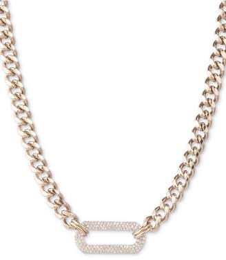 "DKNY Gold-Tone Pave Link Pendant Necklace, 16"" + 3"" extender"