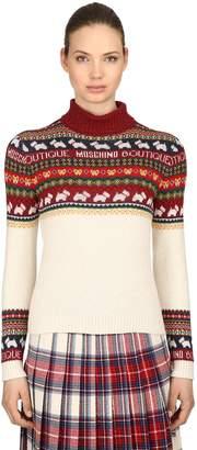 Moschino Lurex Jacquard Turtleneck Knit Sweater