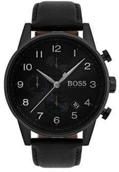 HUGO BOSS NAVIGATOR Round Stainless Steel and Leather Strap Chronographic Watch