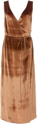 Vince Panne Wrap-Effect Velvet Midi Dress