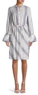 Donna Karan Striped Knee-Length Shirtdress