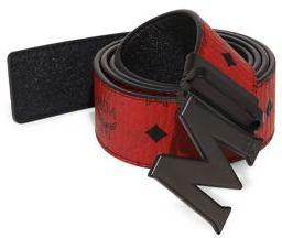 MCM Logo Leather Trimmed Belt $295 thestylecure.com