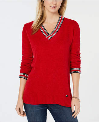 Tommy Hilfiger Chenille V-Neck Logo Sweater
