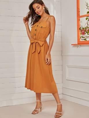 Shein Dual Pocket Front Self Tie Cami Dress
