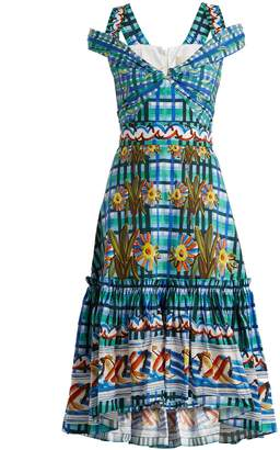 Peter Pilotto Contrast-print cotton-poplin midi dress