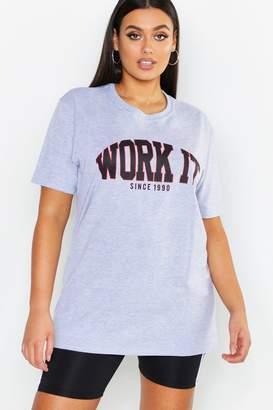 boohoo Work It Slogan T-Shirt