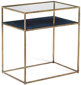 Interlude Maci Side Table - Antiqued Brass/Cobalt