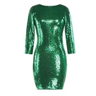 e8b68edeeb at Amazon Canada · Emerayo Women s Sparkle Glitzy Sequin Backless Long  Sleeve Round Collar Bodycon Dress Party Club Pencil Skirt