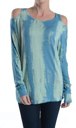 T Party Tie-Dye-Turquoise Cut-Out-Shoulder Top