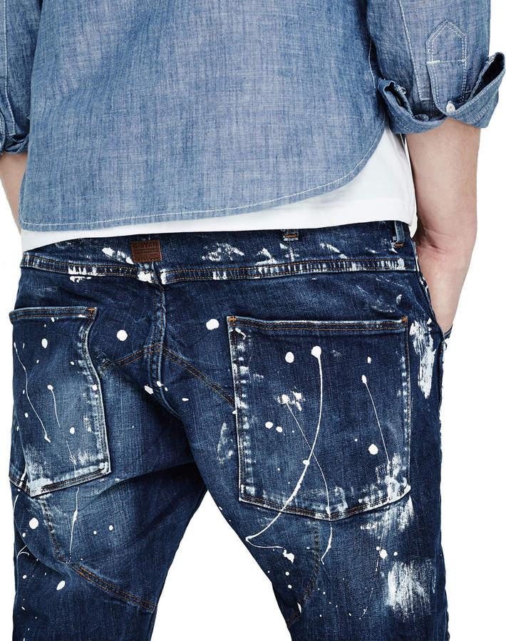 G-Star Paint-Splatter Denim Moto Jeans, Extreme Painted 3