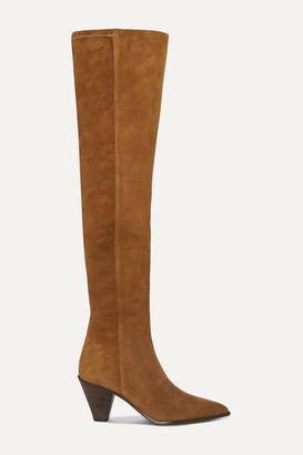 Aquazzura Shoreditch 70 Suede Over-the-knee Boots - Tan